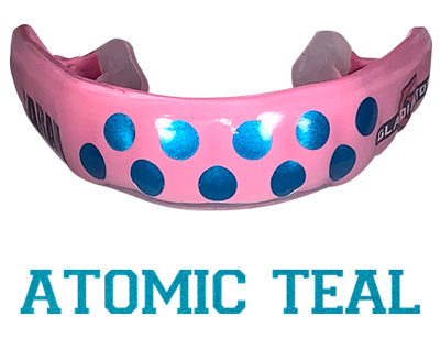Metallic Teal mouthguard logo