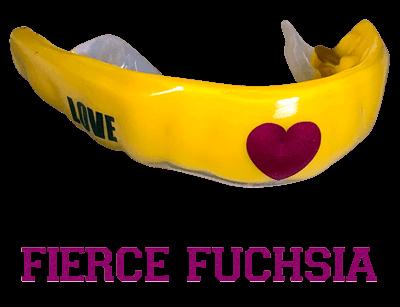 Metallic fuchsia mouthguard logo