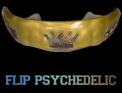 Metallic psychedelic mouthguard logo