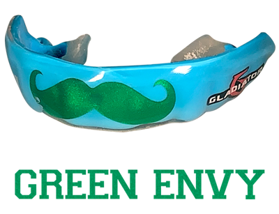 Metallic green mouthguard logo