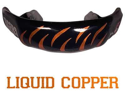 Metallic orange mouthguard logo