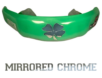 Mirrored chrome mouthguard logo